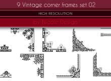 9个复古风格的花纹印花边角图案Photoshop笔刷下载