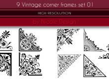 9种优雅的欧式艺术花纹边角图案Photoshop笔刷素材下载