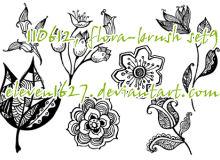 手绘漂亮的艺术印花图案Photoshop鲜花花朵笔刷素材