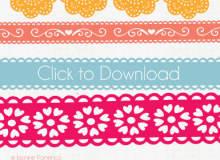 漂亮的印花边条图案Illustrator笔刷、Ai画笔免费下载