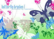 漂亮的蝴蝶图案剪影素材PS 笔刷素材下载