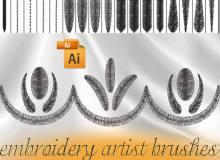 刺绣式画笔笔触Illustrator笔刷/Ai画笔