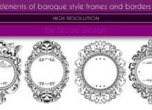 4种优秀的贵族风格边框、镜框、相框装饰图案Photoshop笔刷素材