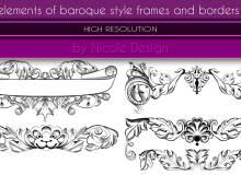 漂亮的巴洛克风格艺术框架、花纹边框装饰PS笔刷下载