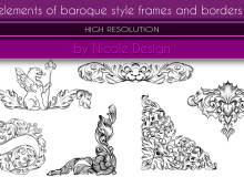巴洛克风格的艺术花纹装饰图案Photoshop笔刷素材下载