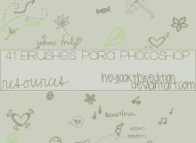 41种卡哇伊手绘涂鸦图案Photoshop美图笔刷