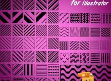 60种线条背景图案Illustrator笔刷/Ai画笔素材免费下载