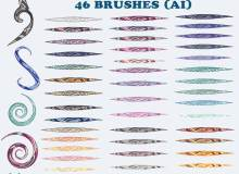 46种 Illustrator花纹纹理图案笔刷、Ai画笔