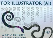 智能蛇鳞、鳞片纹理效果、鳞甲纹理花纹图案 Illustrator笔刷素材