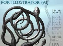 蛇形线条图案 Illustrator笔刷素材免费下载