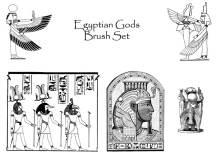 埃及法老神像图案Photoshop笔刷素材下载