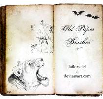 灰暗老旧书记背景纹理图案、黄皮书纸张材质、蝙蝠老虎马头等图案PS笔刷下载
