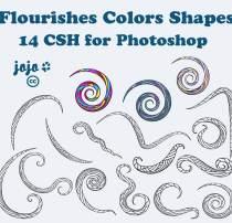 手绘线条式图案装饰PS自定义形状素材.csh下载