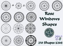 漂亮的罗盘式花朵图案PS自定义形状素材.csh下载