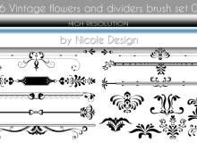 漂亮的欧式贵族印花分割线条印花Photoshop笔刷下载