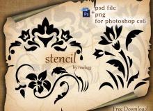 植物花纹、手绘印花图案PS笔刷素材(PSD格式文件)