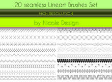 20种可无缝拼接的背景线条纹理图案Photoshop笔刷素材下载