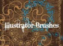 浪漫的艺术印花图案Illustrator笔刷Ai画笔素材免费下载