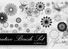 15种食量风格的鲜花花朵图案Photoshop印花笔刷