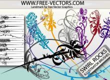 手绘优雅的植物印花图案Illustrator笔刷/Ai画笔素材免费下载