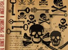 骷髅头图案、海盗纹饰、钥匙图案Photoshop笔刷素材下载