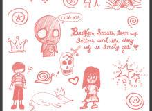 卡哇伊童趣涂鸦PS图案照片装饰笔刷素材