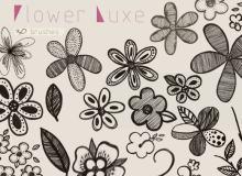 30种精美的手绘花朵图案、鲜花印花素材PS笔刷下载