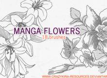 18种漂亮的手绘鲜花图案PS笔刷下载