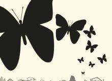 蝴蝶、相框剪影图案Photoshop蝴蝶笔刷下载