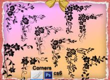 漂亮的手绘鲜花植物图案Photoshop印花笔刷下载