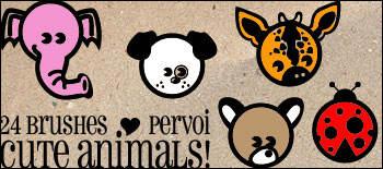 可爱卡通动物大象、小狗、长颈鹿、瓢虫等卡通图案PS美图笔刷下载