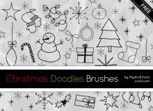 可爱手绘涂鸦圣诞节图形PS美图笔刷下载