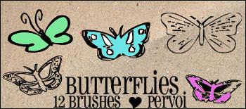 12种漂亮的蝴蝶花纹图案Photoshop笔刷下载