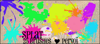 25种油漆喷溅、滴溅效果纹理图案PS笔刷下载