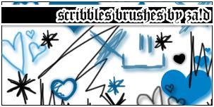 手绘童趣涂鸦笔迹爱心、划痕等PS笔刷下载