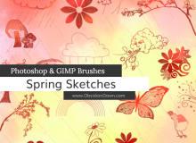 手绘涂鸦式树叶、蝴蝶、花草、小鸟、下雨云、风筝等图案PS笔刷下载