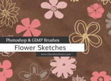 可爱的涂鸦式鲜花花朵图案PS花朵笔刷