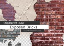 墙面纹理、墙砖纹理背景图案Photoshop墙壁笔刷下载(PNG透明格式)