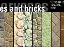10种岩石纹理、墙砖图案Photoshop背景笔刷下载(JPG格式素材)