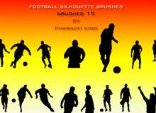 19种运动男性、足球运动员人像剪影PS笔刷下载