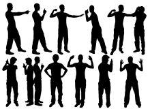 12种男性的各种防卫、投降、进攻的姿势剪影图案PS笔刷下载