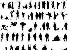 各种生活场景的人物、人像姿势剪影PS轮廓笔刷下载