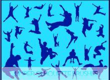 25种跑酷、跳跃姿势Photoshop人体造影、人像剪影图案笔刷素材下载