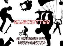 21种极限玩家运动造影、人像剪影图案Photoshop笔刷下载