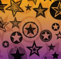 复古式五角星图案Photoshop星星装饰笔刷素材