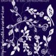漂亮的手绘植物叶子花纹图案Photoshop印花笔刷下载