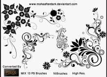 手绘艺术植物印花、鲜花花朵图案Photoshop笔刷下载