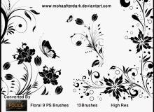 高雅的鲜花花朵图案、鸟语花香印花Photoshop笔刷下载