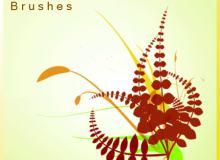 植物叶子图案、花草图案Photoshop笔刷素材