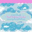 漂亮可爱的卡通云朵、云彩图形Photoshop笔刷下载